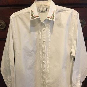 Embroidered White Cotton Button Down
